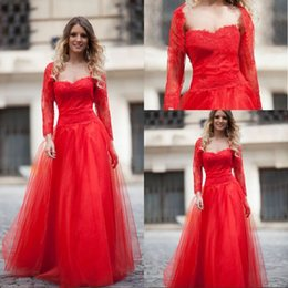 Wholesale Long Jackets Low Prices - Best Sale A Line Strapless Floor Length Red Tulle Lace Top Prom Dresses With Long Sleeve Jacket Lace Up Low Price Evening Women Dresses