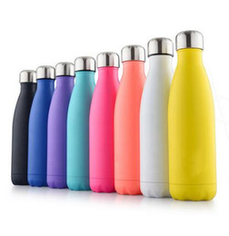 Wholesale Double Wall Bottle - 2017 new Cola Shaped Insulated Double Wall Vacuum high-luminance Water Bottle 17oz 500ml Creative Thermos bottle Vaccum Insulated DHL free
