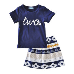 "Wholesale Kids Clothes For Grils - Girls Dress 2017 Casual Summer Style Girls Clothes Letter ""two"" short Sleeve T-shirt+Grils geometry Dress 2Pcs for Kids Clothes"