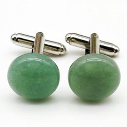 Wholesale Round Green Cufflinks - 4 PCS fashion round green dongling, men's shirts cufflinks groom wedding gift metal cufflinks