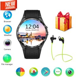 Wholesale Wholesale Heart Rate Watch - KW88 3G WIFI GPS smart watch Android 5.1 OS MTK6580 CPU 1.39 inch Screen 2.0MP camera smartwatch for apple