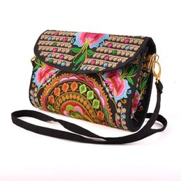 Wholesale Cell Phone Purses Handmade - Handmade Delicate Clutch Wallet Women Handbag Ethnic Shoulder Bags Purse Retro Butterfly Flower Coin Purse Lady Embroidered Bag