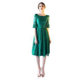 Wholesale Plus Size Retro Cocktail Dresses - SSYFashion New Cocktail Dresses The Bride Banquet Retro Elegant Green Lace Half Sleeves Party Gown Formal Dresses Robe De Soiree