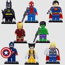 Wholesale Set Boys Superman - 10 Sets Marvel Super Heroes 8Pcs Batman Iron Man Superman Spiderman Wolverine Captain America Hulk Thor minifigures Building Block Kids Toy