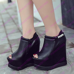 Wholesale Invisible Rubber - 2017 Super high platform wedge black PU leather peep toe invisible height increased shoes 14cm size 34 to 39