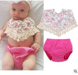 Wholesale Tassel Bib Collar - Infant cute outfits baby girls printed cotton tassel dew shoulder bibs+polka dots shorts 2pcs sets toddler kids clothing C0276
