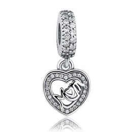Wholesale Pandora Imitation - 2017 Authentic 925 Sterling Silver MUM SILVER DANGLE Charm Fit Pandora Bracelet Pendants Jewelry With Clear CZ Gift