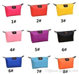 Wholesale Fold Up Purse - New Korean Candy Color Women Bag Folding Handbag Storage Waterproof Purse Make Up Bags For Ladies Cosmetic Bags a691