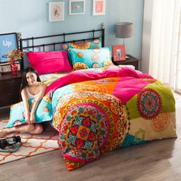 Wholesale Bedsheets Queen Size - Wholesale-Bohemia warm fleece fabric bedding set 4pcs for queen size soft duvet cover set pillowcase pillowcase quilt covet set bedsheets