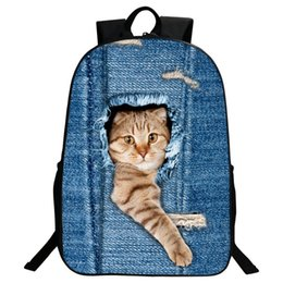 Wholesale Cute Cat Style - Cartoon Backpacks for Teenagers Girls boys Animal Cute Cat Dog Printing Children School Backpack Kids Casual Travel Rucksack Preppy Style
