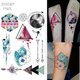 Wholesale Neck Lock - W08 Watercolor Geometric Magic Tattoo with Triangle, Square, Semicolon,Lock Design Body Paint Waterproof Tattoos