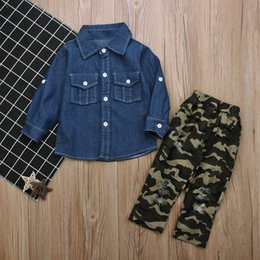 Wholesale Denim Shirts For Girls - Kids casual denim outfits 2pc sets long sleeve cowboy shirt+green camo tattered pants boys girls fashion distressed outfits for 1-5T