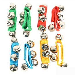 Wholesale Bracelet Children Bell - Wholesale- 20PCS 10pair LOT,Baby hand bell wrist wrap,New baby toys,Baby Rattles,Children bracelet,12x2.5cm,Free shipping.Wholesale