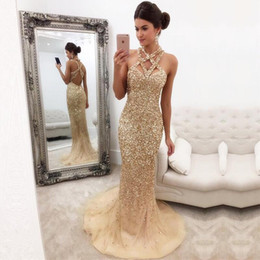 Wholesale Halter Mermaid Dress Bling - Sexy Bling Sparkly Sequined Crystals Beaded Gold Mermaid Prom Dresses 2018 Sleeveless Open Back Long Tulle Evening Dresses