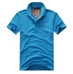 Wholesale Men S Business Leisure Shirts - 2016 summer brand mens solid polo shirt tommy New men casual shirt, men's T-shirt leisure business short sleeve shirts