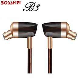Wholesale Wire Units - 2017 Blon B3 New Dynamic and Armature 2 unit Wood Earpieces HIFI Headset Moving Iron&Coil In Ear Earphone DIY Wooden Earset