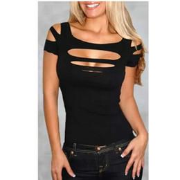 agujeros negros atractivos de la camisa Rebajas Venta al por mayor de moda nueva venta caliente busto negro exposición exposición mujeres Sexy Top desgaste del club mujeres camiseta