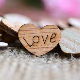 Wholesale Wooden Stand Christmas Decorations - 100 200 500 1000pcs Rustic Wooden Love Heart Shaped DIY Party Wedding Table Scatter Decoration Crafts