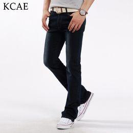Wholesale Mens Business Boots - Wholesale- Fashion Mens Bell Bottom Jeans Business Blue Low Waist Slim Fit Boot Cut Semi-flared Flare Leg Denim Pants Plus Size 28-38