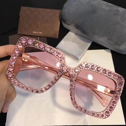 Wholesale Diamond Top - G0148 Luxury Brand Sunglasses 0148 Large Frame Elegant Special Designer with Diamond Frame Built-In Circular Lens Top Quality Come With Case