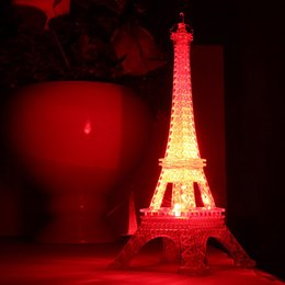 Wholesale Bedroom Desk Lamp - Wholesale- New Romantic Eiffel Tower LED Night Light Desk Wedding Bedroom Decorate Child Gift Lights Lamp ALI88
