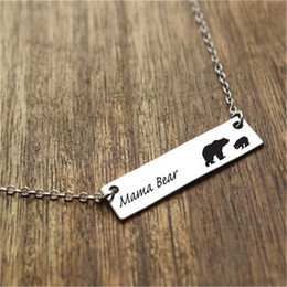Wholesale Silver Plated Link Necklace - Hot selling New fashion Mama bear Lettering With two bears necklace Silver Bar necklace Warm motherly love Christmas Gift for mother