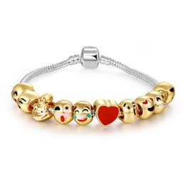Wholesale Cartoon Lobsters - 2017 new quick sell hot selling expression bracelet Christmas cartoon 10 smiling green alloy beads
