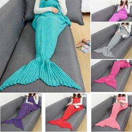 Wholesale Acrylic Blankets - Adult Blankets Mermaid Blankets Keep warm Tail Fish Blankets Women Sleeping Bag Bedding Warm Soft Handmade Knitted Sofa Blanket 4624