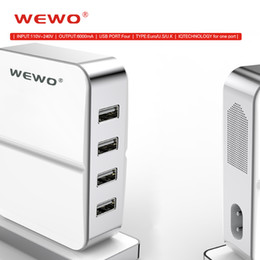 Wholesale Usb Sockets - WEWO 4 Ports Mobile Phone Chargers for Samsung White USB Charger for iPhone iPad EU UK USA Plugs 5V 6A Wall Sockets Adapter