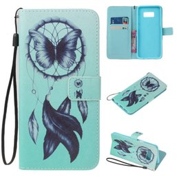 Wholesale Plastic Flower Stand - Coconut tree Flower Leather Wallet Case For Samsung Galaxy S8 Plus J3 A3 A5 2017 Huawei P8 P10 Lite Bird Dreamcatcher Stand Flip Phone Cover