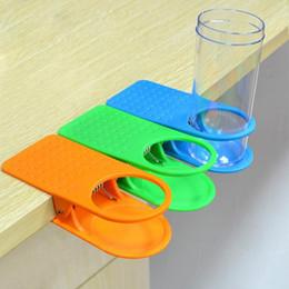 Wholesale Coffee Clip Desk - Wholesale- Table Desk Cup Mug Holder Clip Home Office Table Desk Anti Slip Side Huge Side Drink Bottle Clip Coffee Holder Color Rando