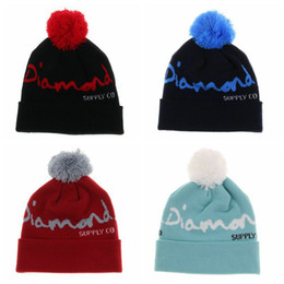 Wholesale Diamond Beanies Winter Cap - 2016 new winter women men woolen yarn kniting diamond beanie skulls caps head ski sport Keep warm hats Headgear
