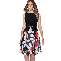 Wholesale Printed Chiffon Dress Online - Top Online Best Seller Women A-Line Sleeveless Print Floral Dress Patchwork Cotton Chiffon Casual Dress with Belt Knee Length q170636