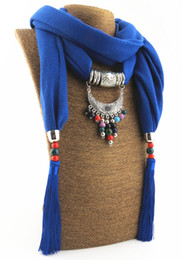 Wholesale Free Pottery - Alloy Pendant Scarf Jewelry Beads Scarves Necklace Scarfs With pottery Jewelly Pendants Nikle-free