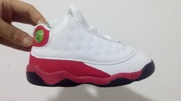Wholesale Girls Summer Hot Selling - Hot sell Retro 13 baby small kids basketball shoes White red black 13S Infant Sports sneaker boy and girl children athletic footwear