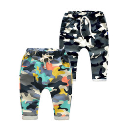 Wholesale Girls Camouflage Trousers - Kids cotton Camo Harem pants 2 colors Boys girls fashion camouflage patern casural pocketed trousers kids casual clothing for 2-7T