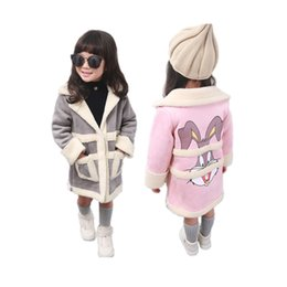 Wholesale Leather Jackets For Children Girls - cute girl suede coat cartoon rabbit style thick Winter leather coat jacket for 2-8yrs girls kids children warm outerwear clothes