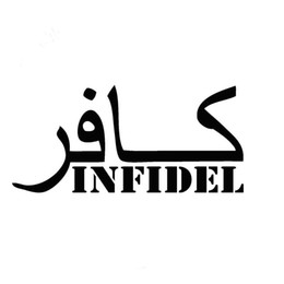 Wholesale Army Film - 20.3CM*9.2CM INFIDEL Military Islam Christian Pride Army Vinyl Decals Car Stickers Car Styling Accessories