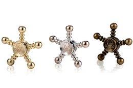 Wholesale Skull Arm - Pentagon Skull Fidget Spinner Pirate Hand Spinners Metal Finger Gyro Torqbar Desk Toy Decompression Toys 5 arms