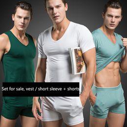 Wholesale Mens Sexy T Shirts - Wholesale-Men T Shirt Cotton Pajama Set Sleepwear Sexy Mens Underwear Tees Undershirts Tshirts Running sportswear Casual Short Sleeve Boxers