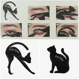 Wholesale Eye Shadow Stencil - 2 in 1 Cat Eyeliner Tool Guide Cat Eyeliner Stencil kit for eyebrows guide template Maquiagem eye shadow frames card makeup