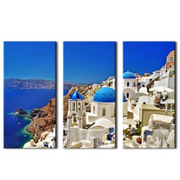 Wholesale Seaside Wall Decor - 3 Picture Canvas Paintings Aegean Sea Seaside Villa Paintings Printed On Canvas with Wooden Framed For Home Wall Decor Ready to Hang