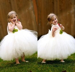Wholesale Baby Girl Tutu Puffy Dresses - 2017 Pretty Puffy Tulle Flower Girls Dresses Cheap Baby Girl Tutu Skirts Toddler Wedding Party Ball Gowns First Communion Dresses Tea Length