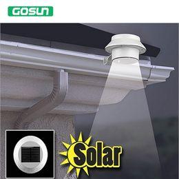 2019 clôture solaire gouttière led Gros- Shenzhen fabricant extérieur solaire alimenté 3 LED blanc froid / chaud blanc lumière barrière gouttière jardin cour toit lampe promotion clôture solaire gouttière led