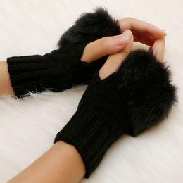 Wholesale Fur Arm Warmers - Wholesale- Women Winter Faux Rabbit Fur Villi Gloves Arm Warmer Fingerless Wrist Gloves Knitted Fur Gloves Mitten Knitted Wrist Unisex 58