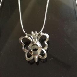 Wholesale Horn Shaped Pendants - Hot Sale Pretty Butterfly Shape pearl cage pendants Lockets DIY 925 Silver Chain Pendant Necklace Jewelry Women Good Gift