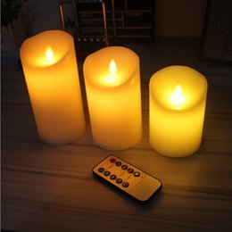 Wholesale Dimmer Remote Control - 3pcs Moving Wick Dancing Flame Wax Pillar LED Candle Set with Remote Control Timer Dimmer Christmas Wedding Party Decor