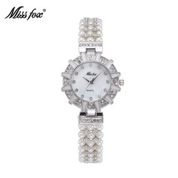 Wholesale Retro Gold Watch - Miss Fox Hot Sales Orignal Design Luxury Tribute To Classic Retro Lady Watches Arrival Fashion Pearls Adorned With Diamonds Wristwatches