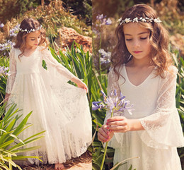Wholesale Dresses 12 Years Old Girls - 2017 New Fancy V Neck 3 4 Sleeves A-line Lace Flower Girl Dresses Cheap Country Style Little Girls Gowns For 2-12 Year Old