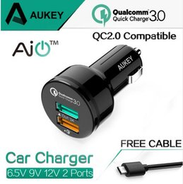 Wholesale Iphone Compatible Charger - AUKEY Qualcomm Quick Charger 3.0 9V 12V 2 Port USB Car Charger for iPhone 7 6s iPad Samsung Xiaomi QC2.0 Compatible